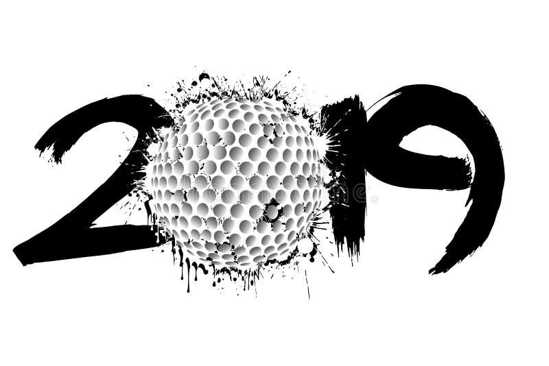 抽象数2019年和从污点的高尔夫球 皇族释放例证