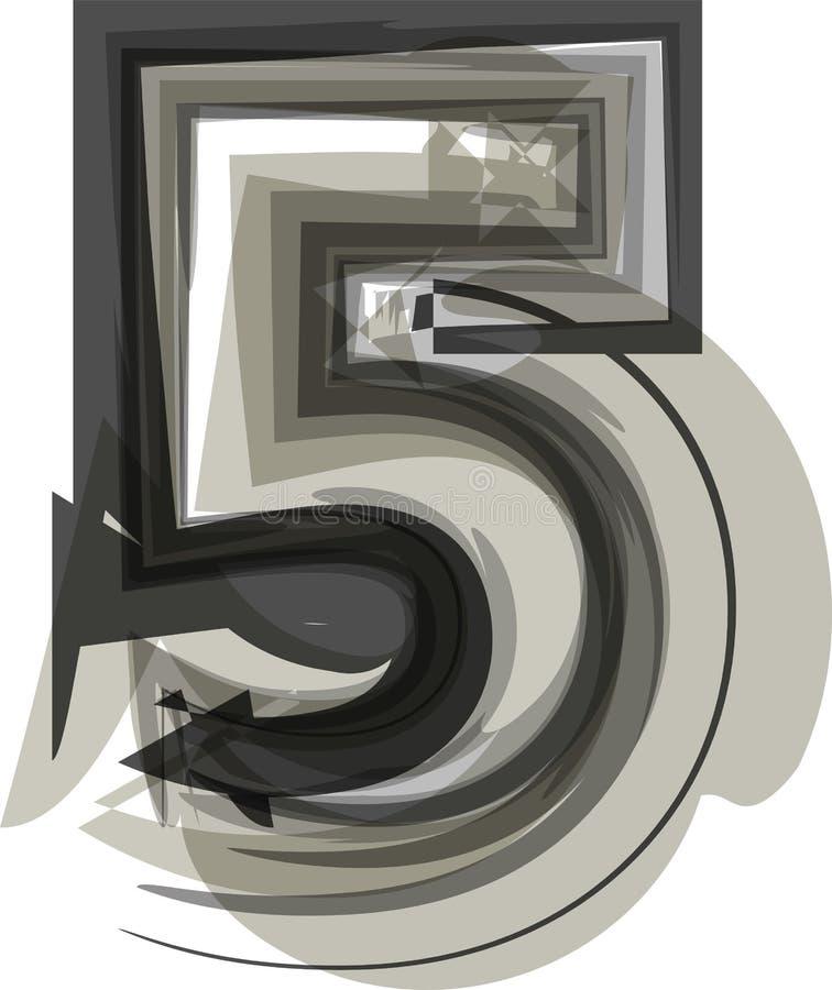 抽象数5 皇族释放例证