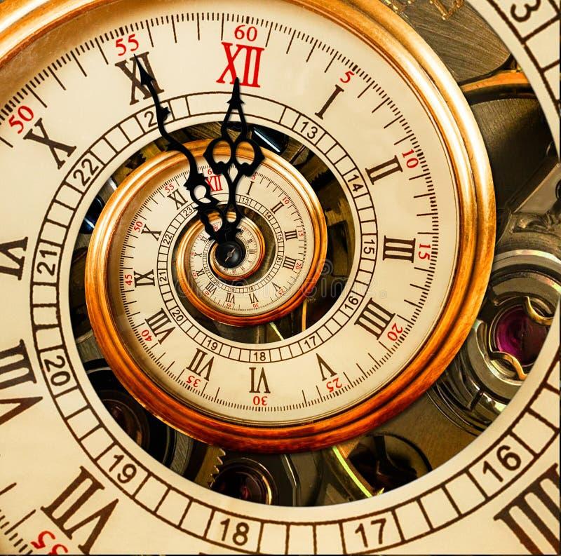 抽象新年时钟 背景圣诞节关闭红色时间 新年2018年明信片 古色古香的老时钟摘要分数维螺旋 手表时钟摘要 免版税库存照片