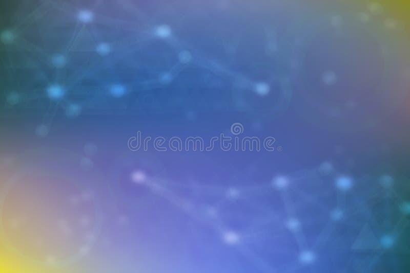 抽象新的通信和技术背景纹理 与被连接的几何的一个被弄脏的蓝色未来派例证 库存例证