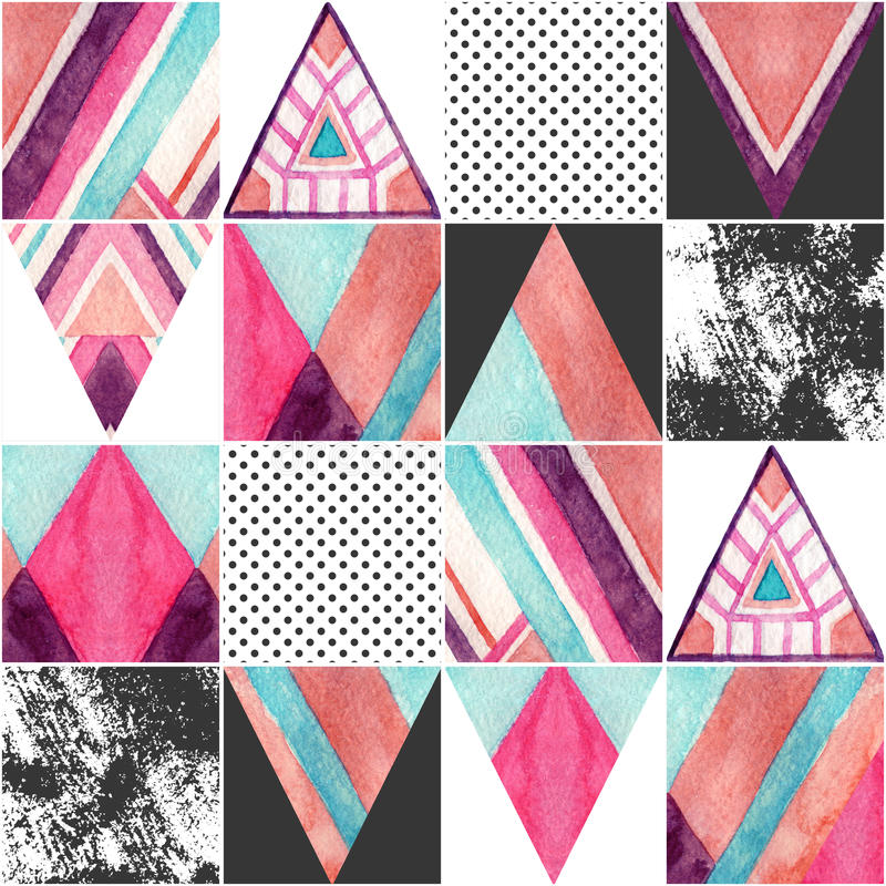 抽象方形的无缝的样式 向量例证