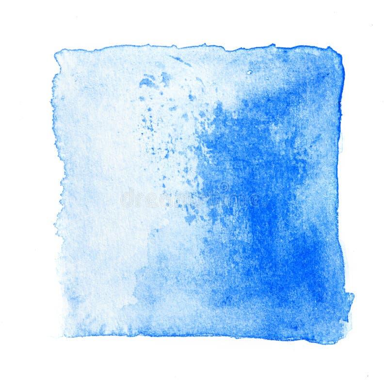抽象方形的水彩新鲜的蓝色颜色口气手油漆isol 库存图片