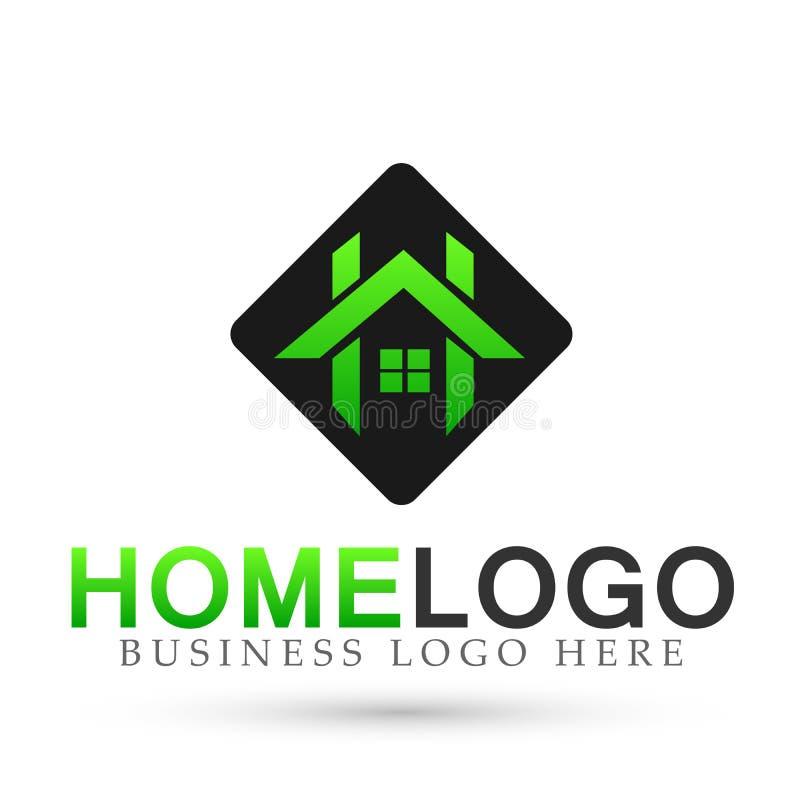 抽象方形的议院屋顶和家庭商标传染媒介元素象设计传染媒介以在白色背景上色的绿色 库存例证