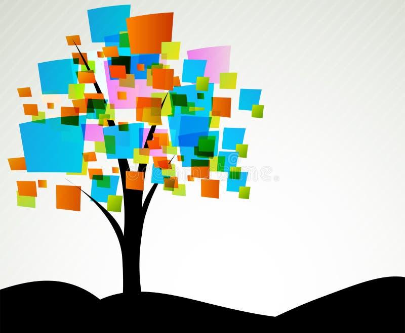 抽象方形结构树 皇族释放例证
