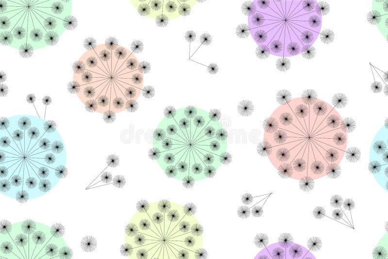 抽象无缝的传染媒介样式用以蒲公英的形式手 库存例证