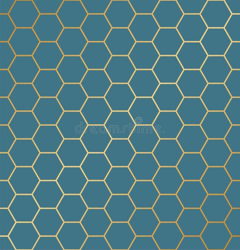 抽象无缝的六角形样式 重复豪华背景 皇族释放例证