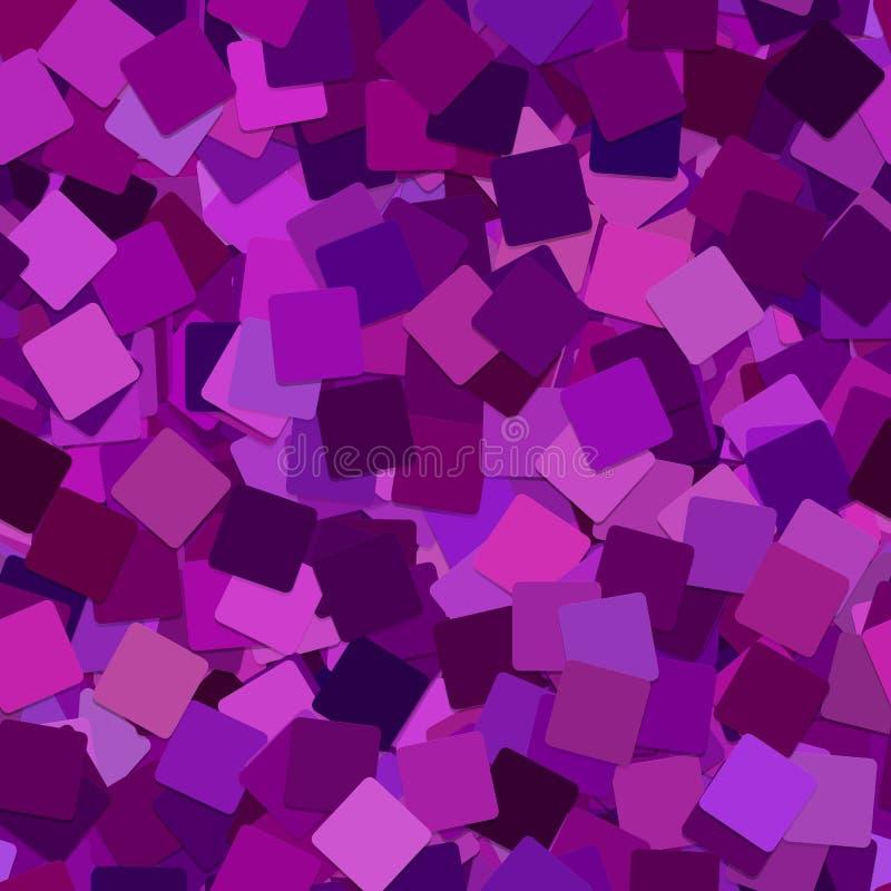 抽象无缝的几何方形的背景样式-从被转动的紫色正方形的向量图形 皇族释放例证