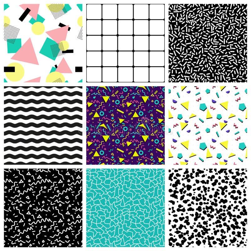 抽象无缝的几何样式 20世纪80年代20世纪90年代样式 皇族释放例证