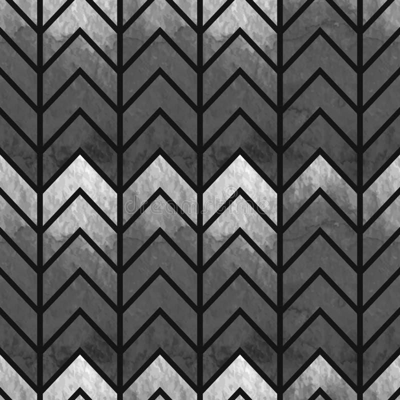 抽象无缝的几何水彩V形臂章 库存例证