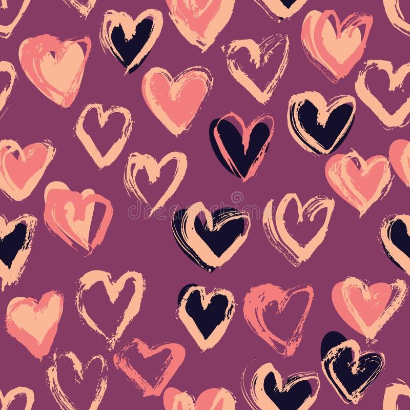 抽象无缝的心脏样式 墨水例证 背景桃红色浪漫 库存例证
