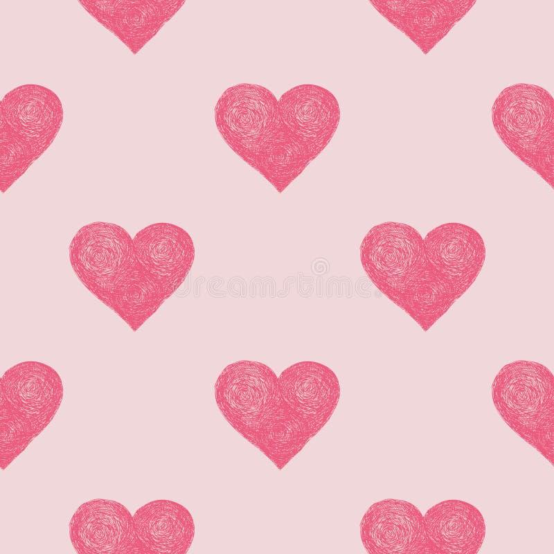抽象无缝的心脏样式 皇族释放例证