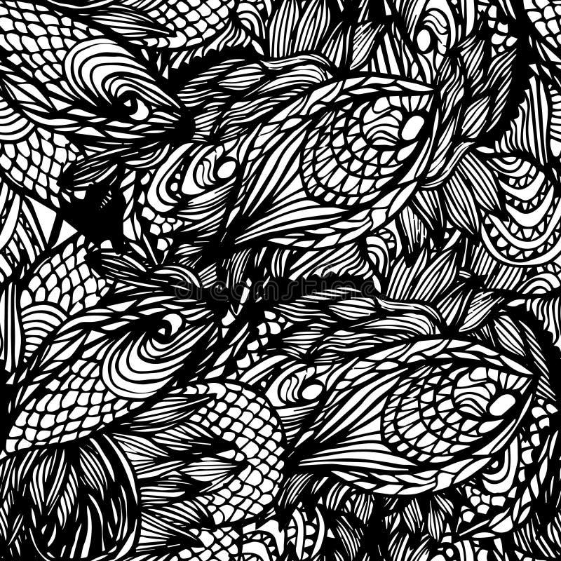 抽象无缝的手拉的样式 向量例证