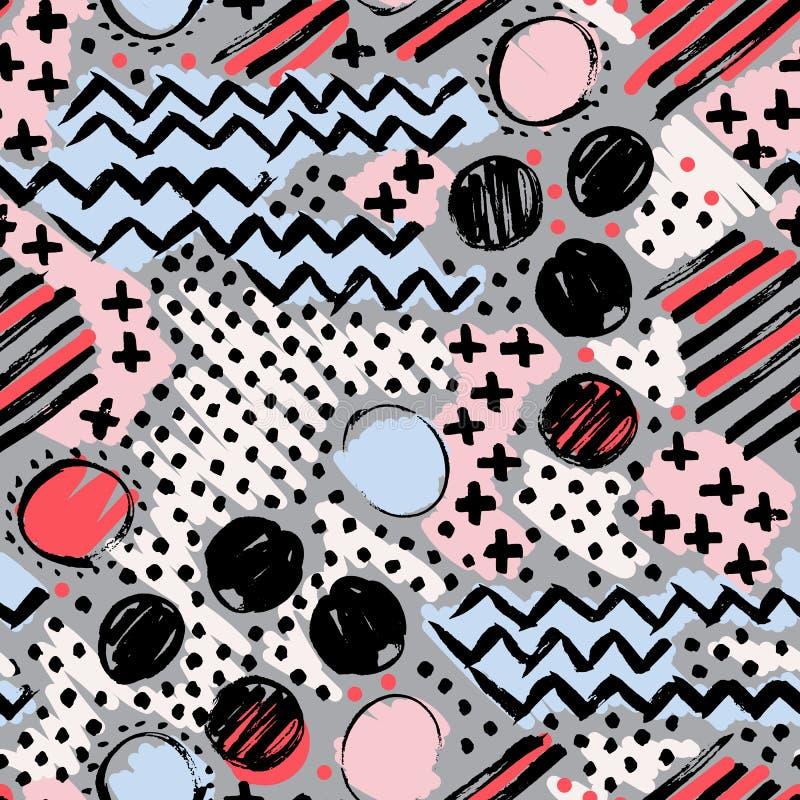 抽象无缝的手拉的样式 grunge现代纹理 五颜六色的图表笔刷子被绘的背景 纹理与 库存例证