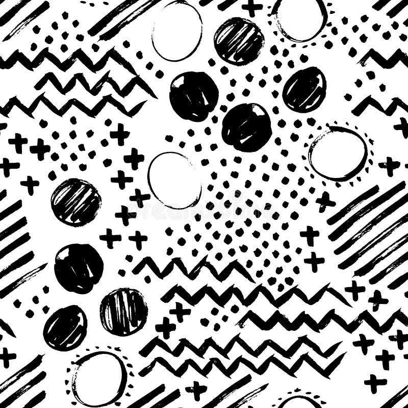 抽象无缝的手拉的样式 grunge现代纹理 单色笔刷子被绘的背景 与黑色的纹理 库存例证