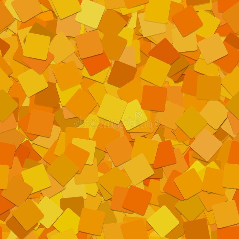 抽象无缝的方形的背景样式-从被转动的橙色正方形的向量图形与屏蔽效应 库存例证