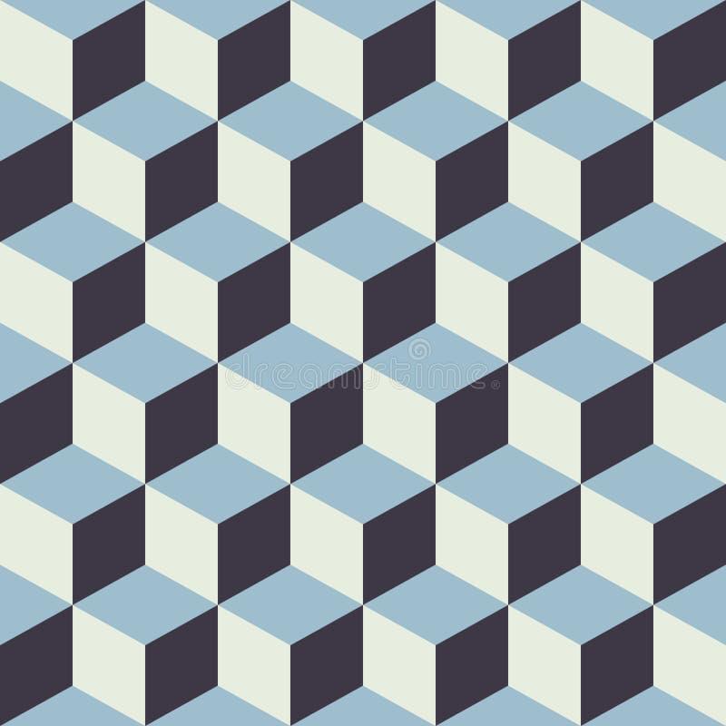 抽象无缝的方格的立方体块颜色蓝色样式背景 皇族释放例证