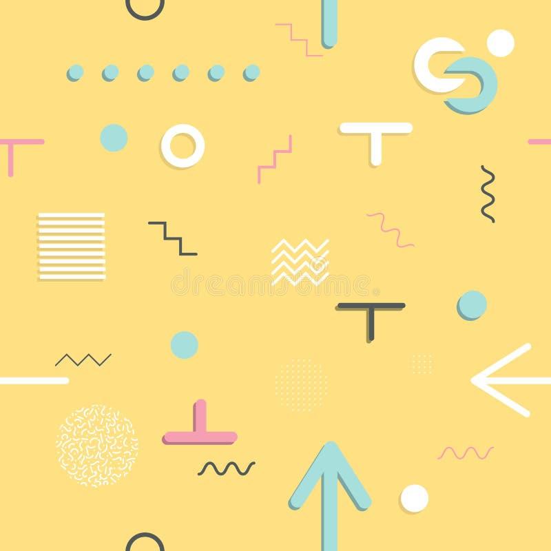 抽象无缝的样式80 ` - 90个` s样式 时髦孟菲斯样式 向量例证