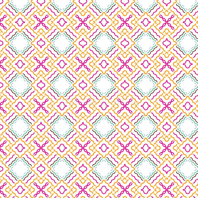 抽象无缝的格子花呢披肩花卉明亮的叶子网格图形背景 库存例证