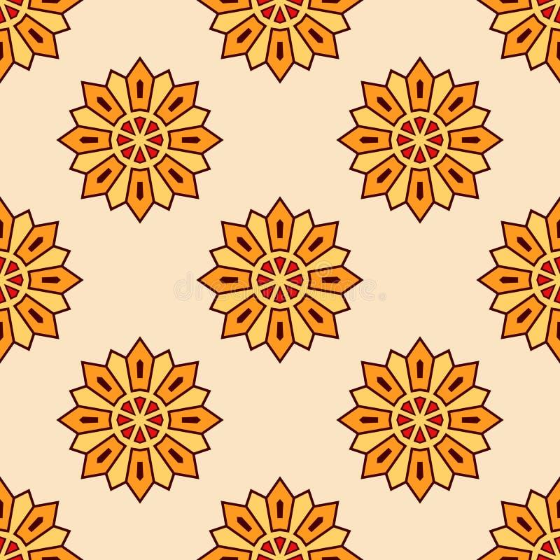 抽象无缝的橙色颜色花卉坛场样式 向量例证
