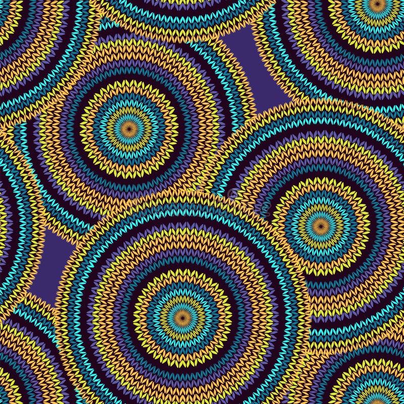 抽象无缝的种族样式圈子简单的五颜六色的传染媒介 向量例证