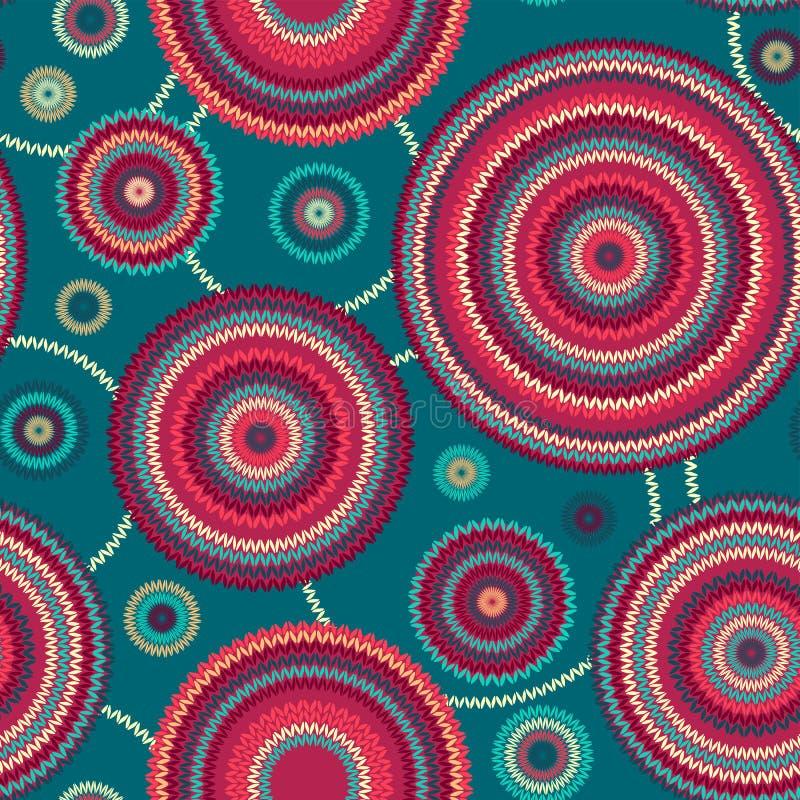 抽象无缝的种族背景,装饰圆的几何被编织的样式 向量例证