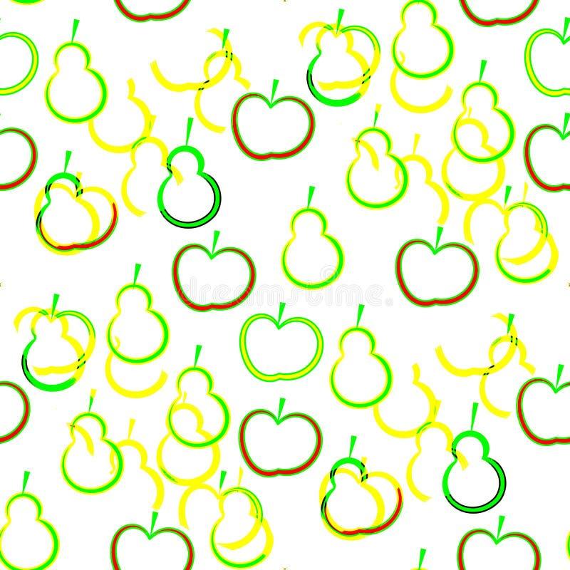 抽象无缝的背景上色了苹果和梨冲程  向量例证