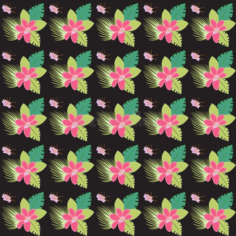 抽象无缝的花卉热带样式多色背景 皇族释放例证