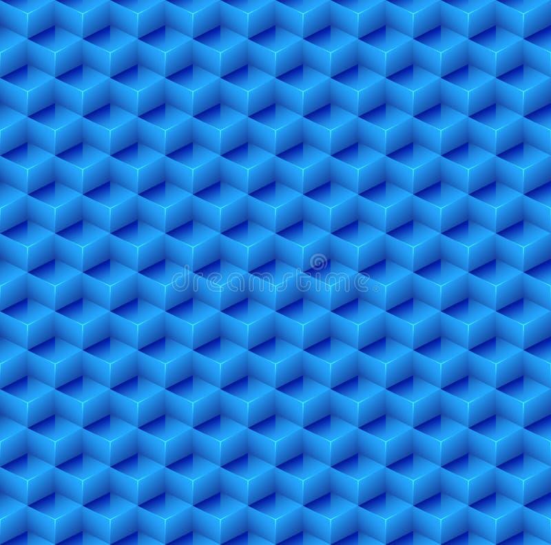 抽象无缝的蓝色立方体背景 向量 库存例证
