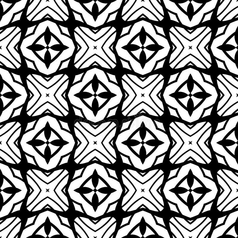 抽象无缝的装饰几何轻的黑&白色样式背景 库存例证