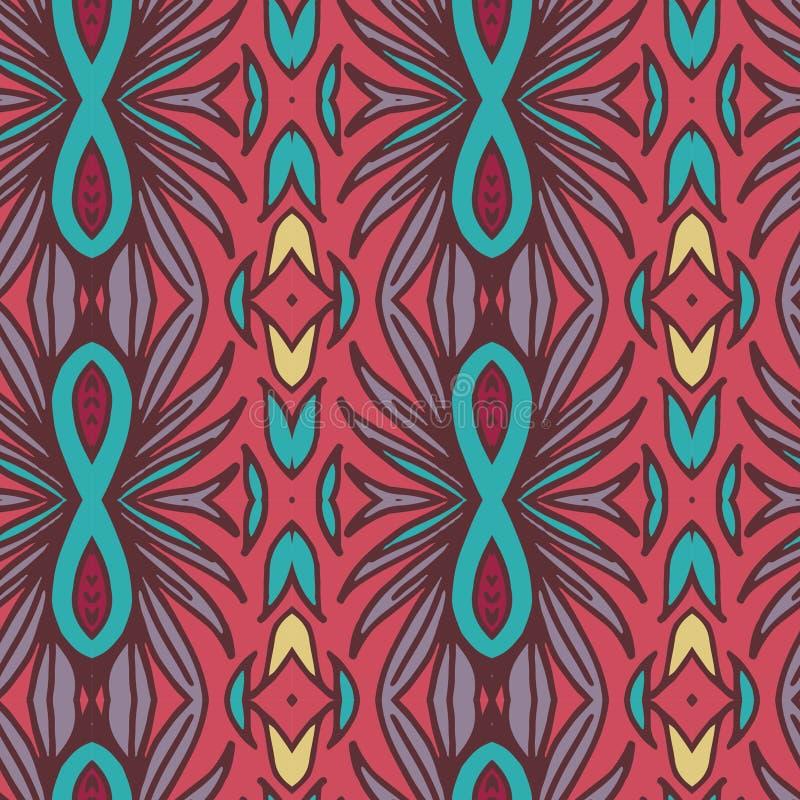 抽象无缝的装饰品样式 万花筒作用 种族锦缎主题 库存例证