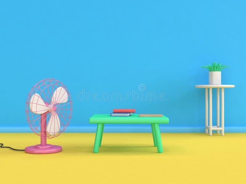 抽象日本备忘录爱好者动画片样式最小的3d回报蓝色墙壁黄色地板场面,教育概念 向量例证