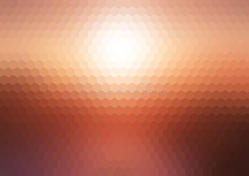 抽象日落六角马赛克背景 皇族释放例证