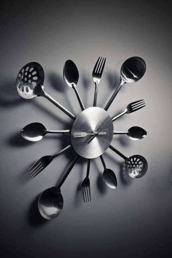 抽象时钟叉子厨房匙子巫婆 库存照片
