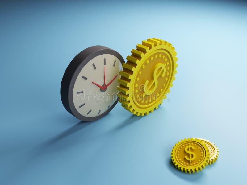 抽象时钟和齿轮美元 免版税图库摄影