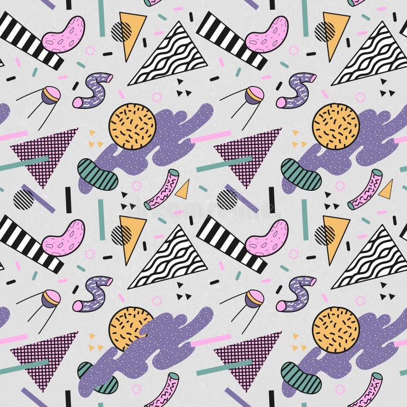 抽象时髦孟菲斯无缝的样式 空间几何形状背景 减速火箭的葡萄酒时尚印刷品80s 90s 库存例证