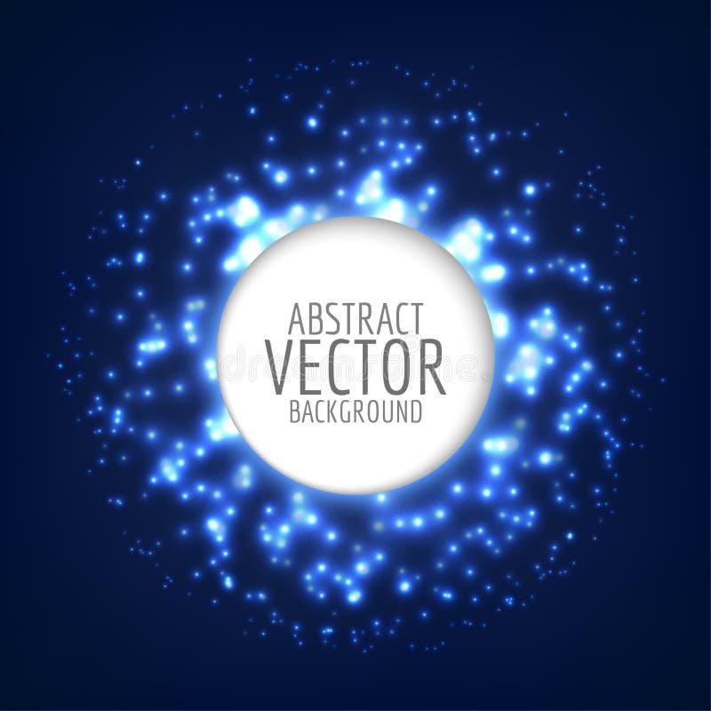 抽象明亮的光亮的球形 背景轻的向量 与闪闪发光的圈子形状 库存例证