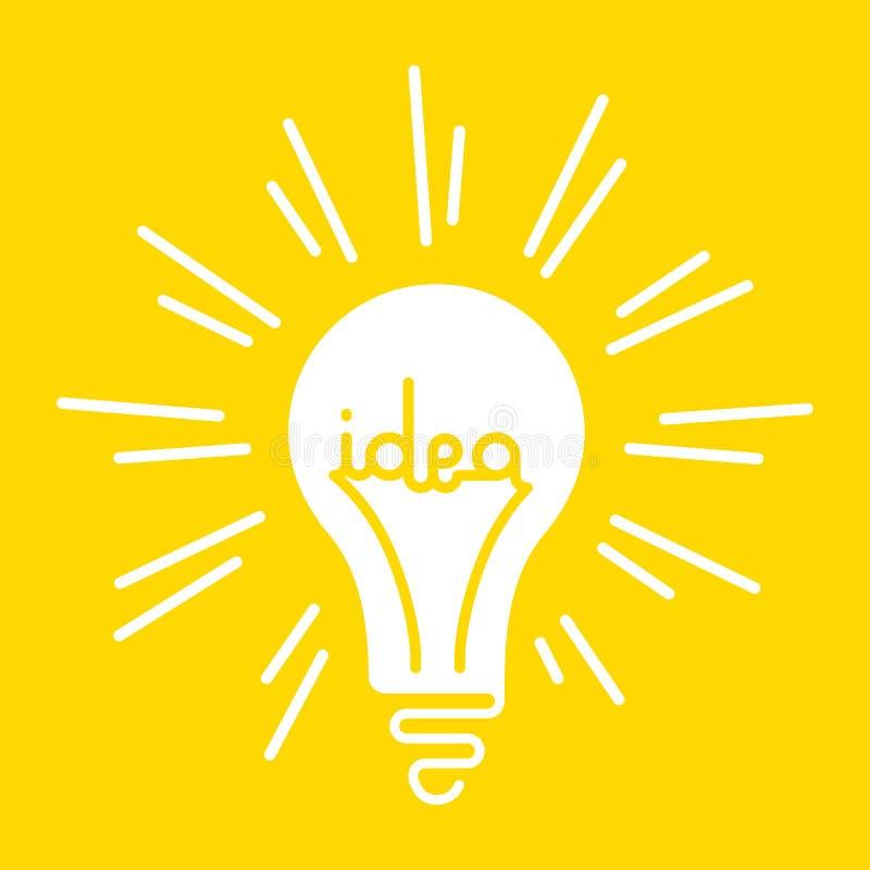 抽象明亮的光亮的电灯泡的概念性例证有词想法被写在它里面 库存例证