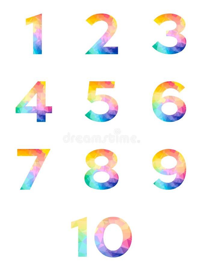 抽象明亮的彩虹多角形数字字母表五颜六色的字体风格 一两三四五六七八九十个零的数字 向量例证