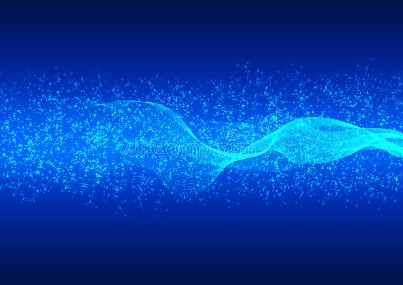 抽象明亮的波浪、微粒和闪烁在蓝色梯度背景中 皇族释放例证