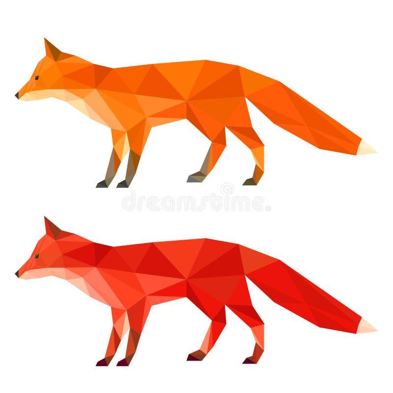 抽象明亮的红色和姜多角形几何三角在白色背景隔绝的狐狸集合用于设计 库存例证