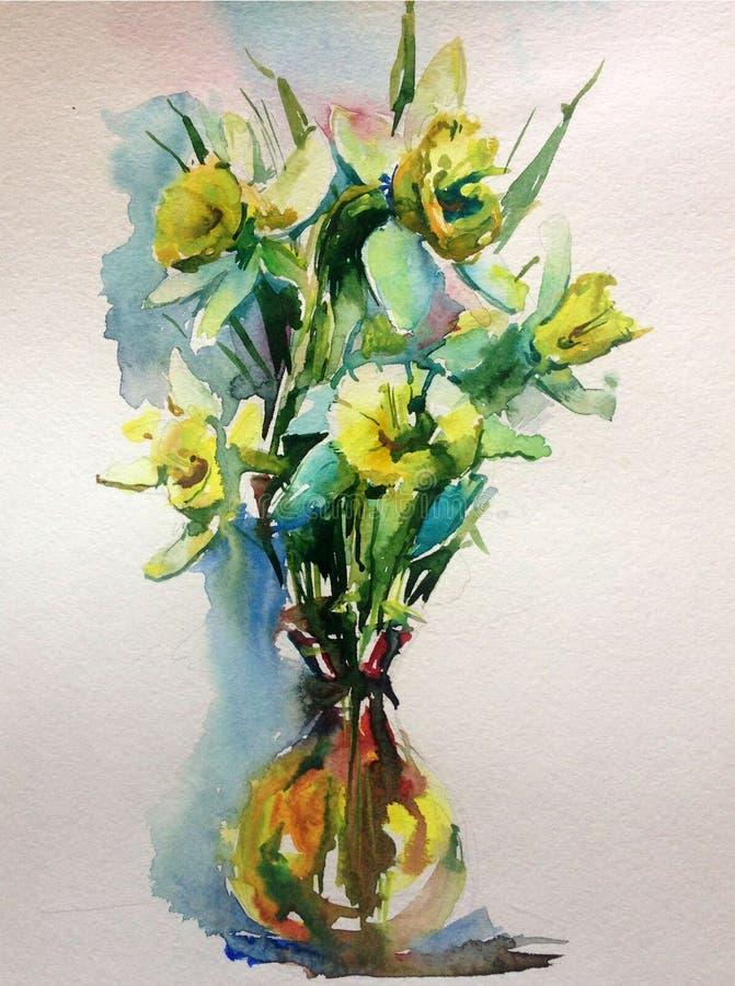 抽象明亮的色的装饰背景 手工制造花卉的样式 在花瓶的美丽的嫩浪漫花束 库存例证