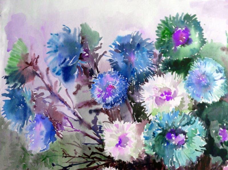 抽象明亮的色的装饰背景 手工制造花卉的样式 翠菊花美丽的嫩浪漫花束  库存例证