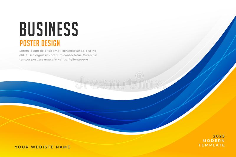 抽象明亮的蓝色和黄色波浪企业横幅 库存例证