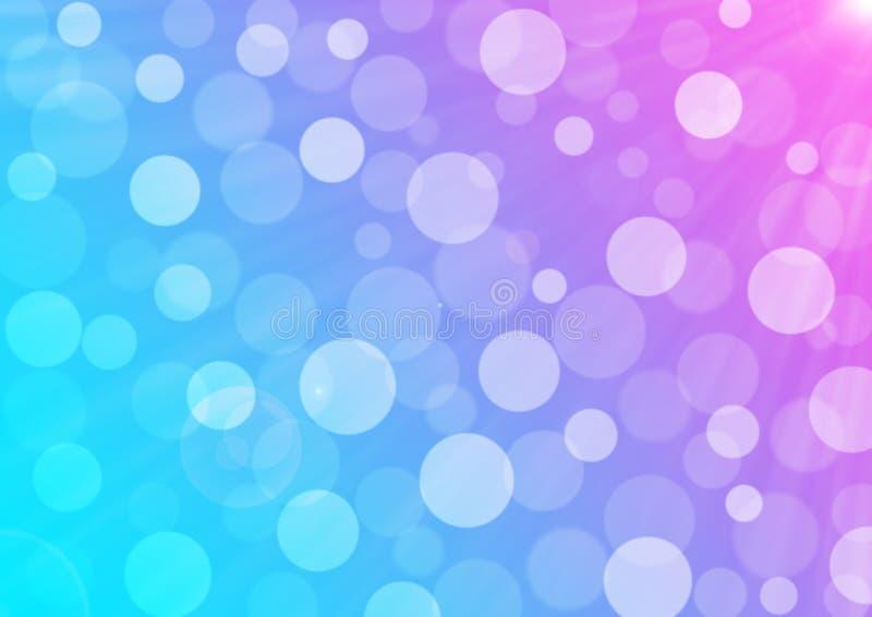 抽象明媚的阳光、泡影和Bokeh在蓝色,紫色和桃红色梯度背景中 向量例证