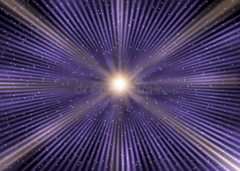 抽象星疾风在外层空间紫色背景中 库存例证