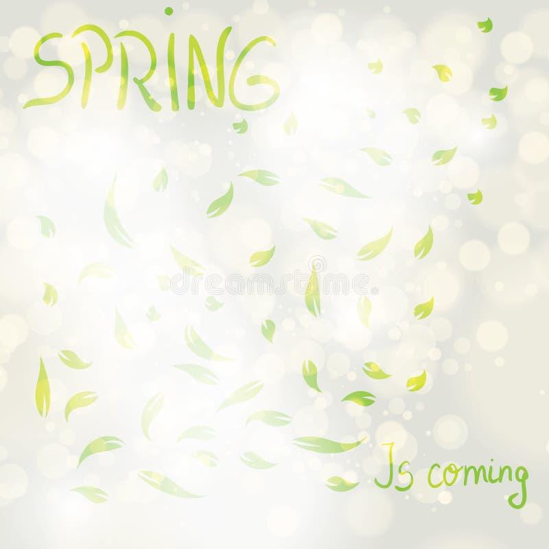 抽象春天叶子背景 皇族释放例证