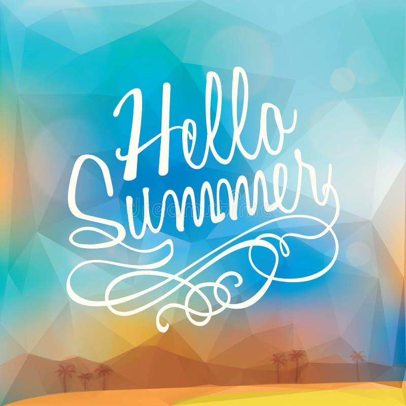 抽象暑假多角形海报背景 皇族释放例证