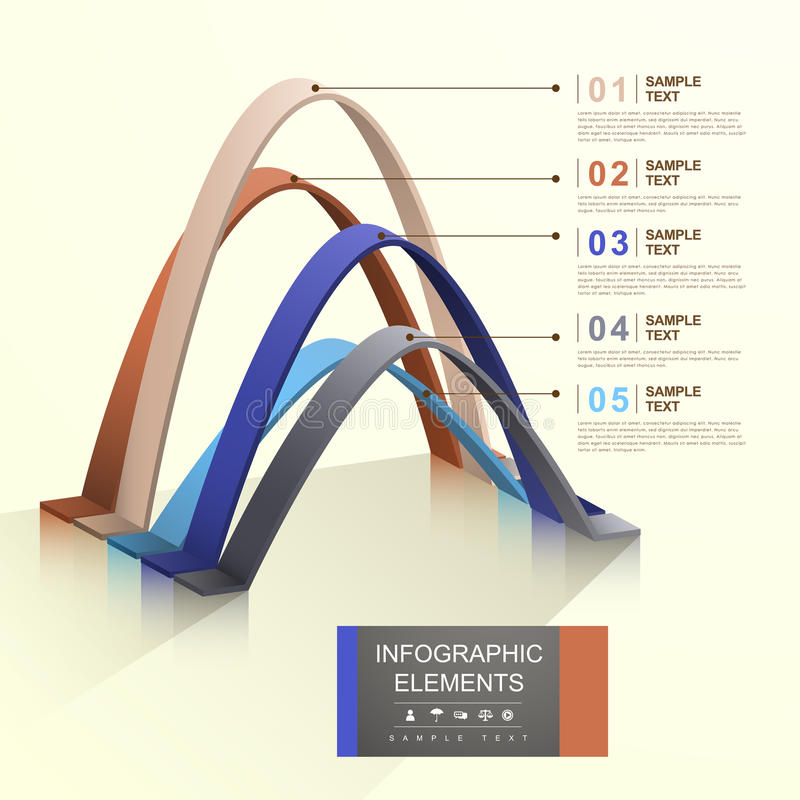 抽象曲拱infographics 向量例证