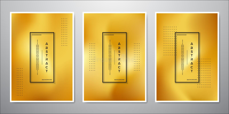 抽象最低纲领派金背景设计 豪华金子色的背景的一汇集 向量例证