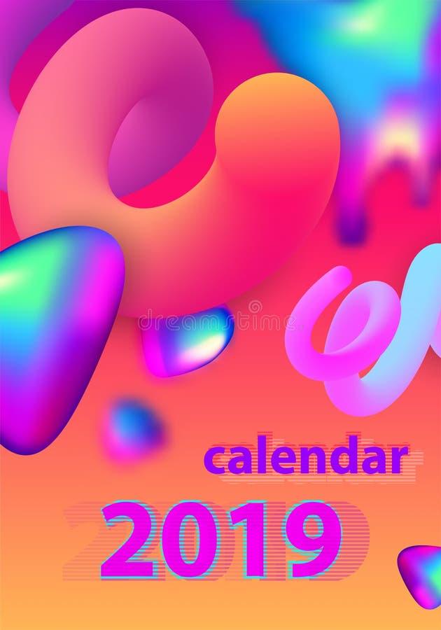抽象最小的日历设计在2019年 五颜六色的集 库存例证
